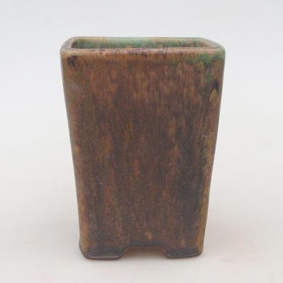 Ceramiczna miska bonsai 8 x 8 x 10,5 cm, kolor brązowo-zielony - 1