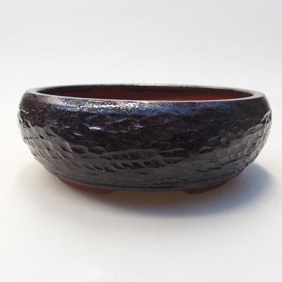 Ceramiczna miska bonsai 15 x 15 x 5,5 cm, kolor brązowy - 1