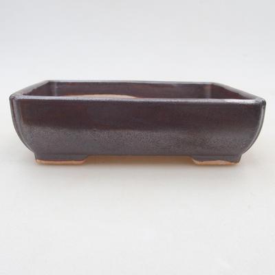 Ceramiczna miska bonsai 13 x 10 x 4 cm, kolor brązowy - 1