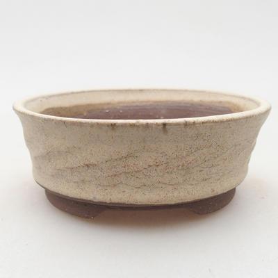 Ceramiczna miska bonsai 10 x 10 x 3,5 cm, kolor beżowy - 1