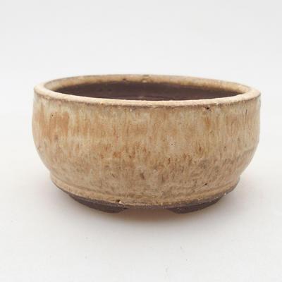 Ceramiczna miska bonsai 8 x 8 x 4 cm, kolor beżowy - 1