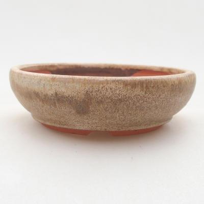 Ceramiczna miska bonsai 10 x 10 x 3 cm, kolor beżowy - 1