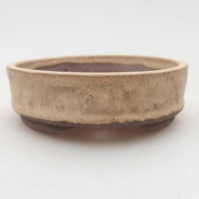 Ceramiczna miska bonsai 9 x 9 x 3 cm, kolor beżowy - 1