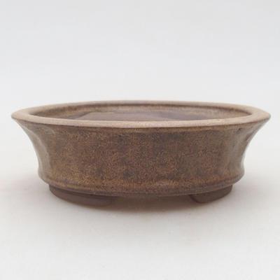 Ceramiczna miska bonsai 11 x 11 x 3,5 cm, kolor brązowy - 1
