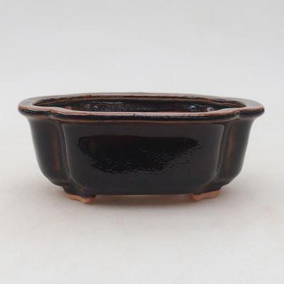 Ceramiczna miska bonsai 13 x 10 x 5 cm, kolor brązowo-zielony - 1