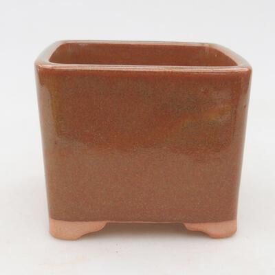 Ceramiczna miska bonsai 10 x 10 x 8,5 cm, kolor szaro-rdzawy - 1