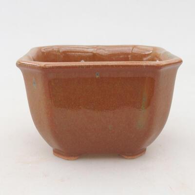 Ceramiczna miska bonsai 10 x 10 x 6,5 cm, kolor szaro-rdzawy - 1