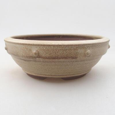 Ceramiczna miska bonsai 15 x 15 x 5,5 cm, kolor beżowy - 1