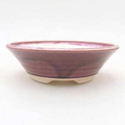 Ceramiczna miska bonsai 14,5 x 14,5 x 4 cm, kolor bordowy - 1