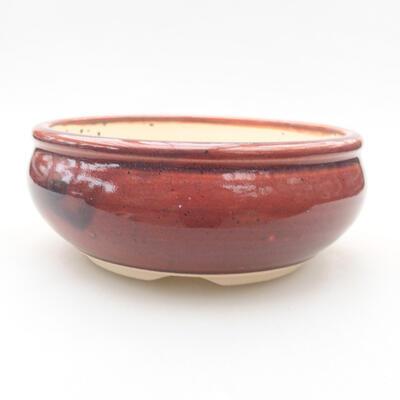 Ceramiczna miska bonsai 13 x 13 x 5 cm, kolor bordowy - 1