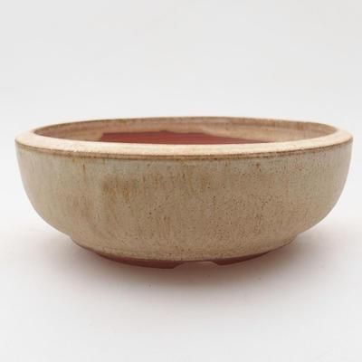 Ceramiczna miska bonsai 11,5 x 11,5 x 4 cm, kolor beżowy - 1