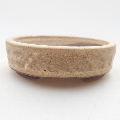 Ceramiczna miska bonsai 9 x 9 x 2,5 cm, kolor beżowy - 1