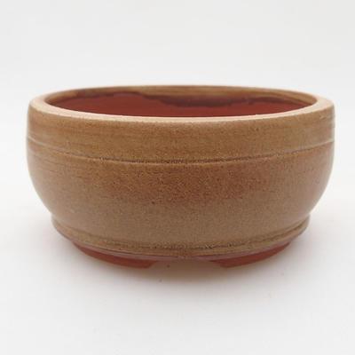 Ceramiczna miska bonsai 9,5 x 9,5 x 4 cm, kolor brązowy - 1