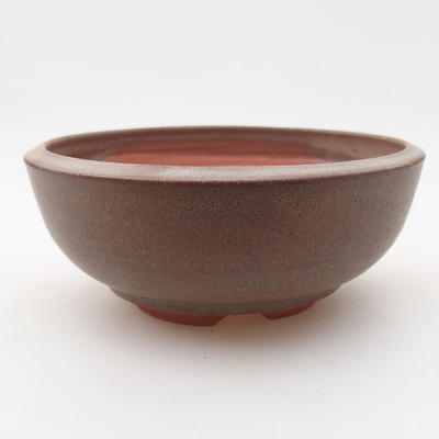 Ceramiczna miska bonsai 12 x 12 x 4,5 cm, kolor brązowy - 1