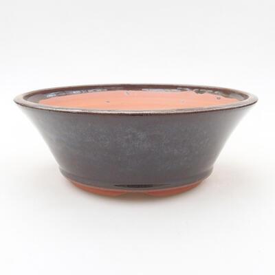 Ceramiczna miska bonsai 16,5 x 16,5 x 6 cm, kolor brązowy - 1