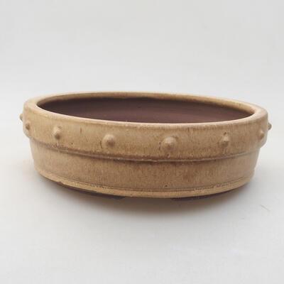 Ceramiczna miska bonsai 18 x 18 x 5 cm, kolor beżowy - 1