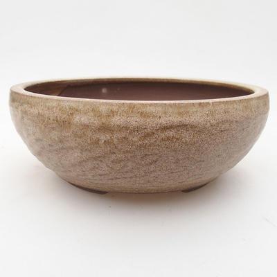 Ceramiczna miska bonsai 16 x 16 x 5,5 cm, kolor beżowy - 1