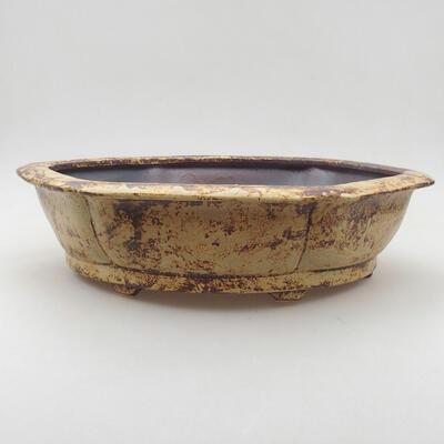 Ceramiczna miska bonsai 31 x 28 x 7,5 cm, kolor żółto-brązowy - 1