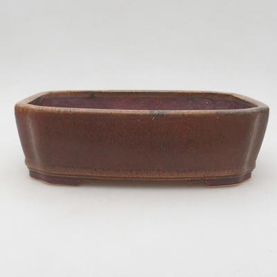 Ceramiczna miska bonsai 20,5 x 17,5 x 6 cm, kolor brązowy - 1