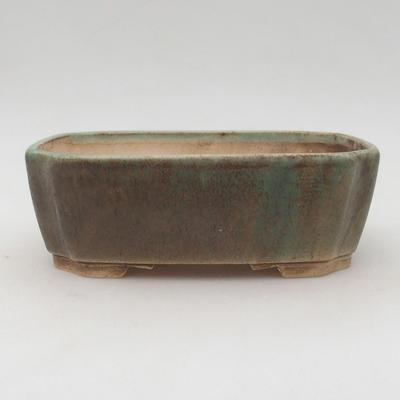 Ceramiczna miska bonsai 17 x 14,5 x 6 cm, kolor brązowo-zielony - 1