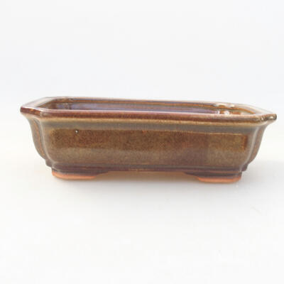 Ceramiczna miska bonsai 17 x 13,5 x 4,5 cm, kolor brązowy - 1