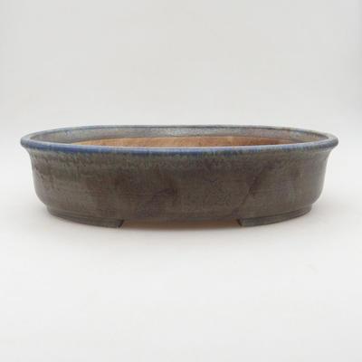 Ceramiczne bonsai miski 32 x 27,5 x 7,5 cm, brązowo-niebieskie zabarwienie - 1