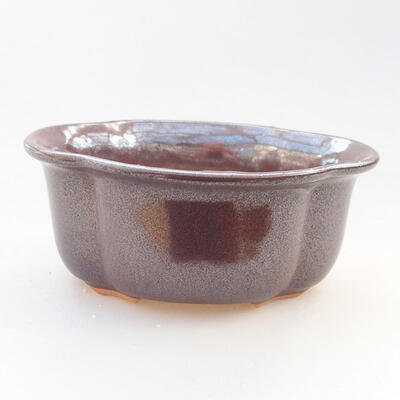 Ceramiczna miska bonsai 13 x 11 x 5,5 cm, kolor brązowy - 1