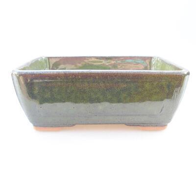 Ceramiczna miska bonsai 15,5 x 11,5 x 6 cm, kolor zielony - 1