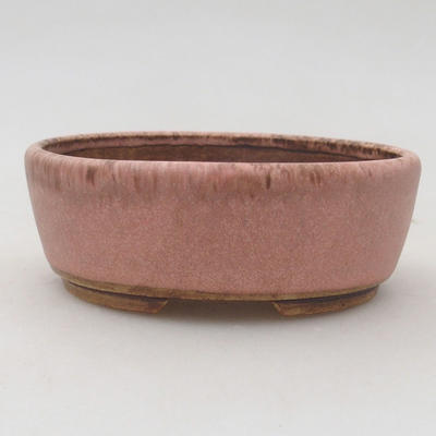 Ceramiczna miska bonsai 9,5 x 8,5 x 3,5 cm, kolor brązowo-różowy - 1