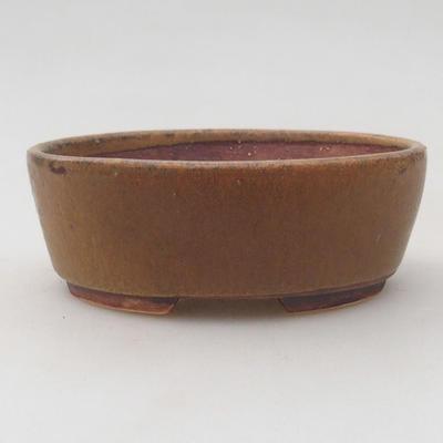 Ceramiczna miska bonsai 10 x 8,5 x 3,5 cm, kolor brązowy - 1
