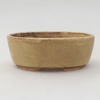 Ceramiczna miska bonsai 10 x 8,5 x 3,5 cm, kolor brązowo-żółty - 1