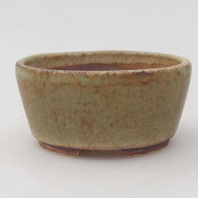 Ceramiczne bonsai miska 8 7 x 4 cm, kolor brązowy, zielony - 1