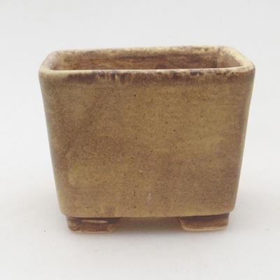 Ceramiczna miska bonsai 6,5 x 6,5 x 5 cm, kolor brązowo-żółty - 1