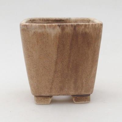 Ceramiczna miska bonsai 7 x 7 x 7 cm, kolor beżowy - 1