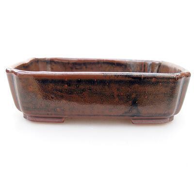Ceramiczna miska bonsai 15 x 12 x 4 cm, kolor brązowo-czarny - 1