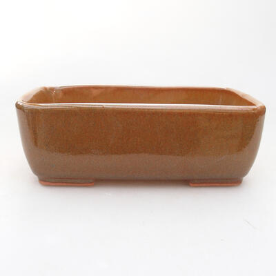 Ceramiczna miska bonsai 15 x 10,5 x 5 cm, kolor brązowy - 1