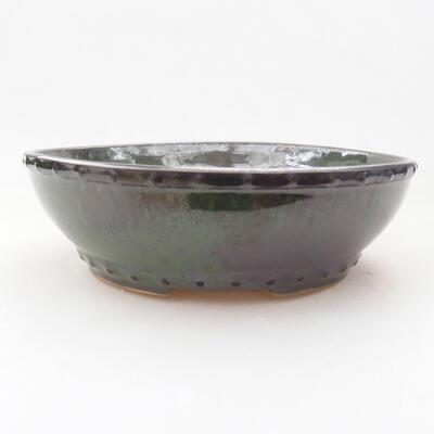 Ceramiczna miska bonsai 18 x 18 x 5 cm, kolor zielony - 1