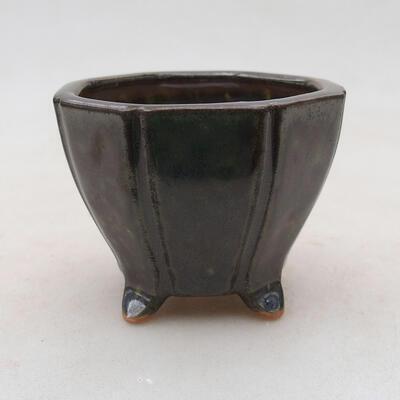 Ceramiczna miska bonsai 7 x 7 x 5,5 cm, kolor zielony - 1
