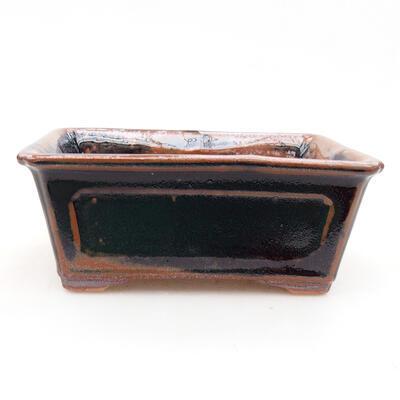 Ceramiczna miska bonsai 13 x 10 x 5 cm, kolor czarno-brązowy - 1