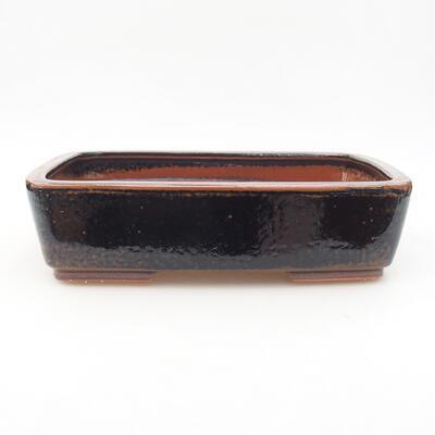 Ceramiczna miska bonsai 25 x 19,5 x 6,5 cm, kolor czarno-brązowy - 1