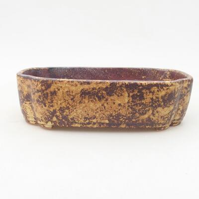 Ceramiczna miska bonsai 17,5 x 13,5 x 5 cm, kolor brązowo-żółty - 1