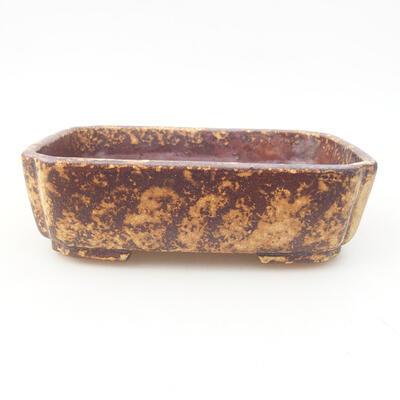 Ceramiczna miska bonsai 15 x 11,5 x 4 cm, kolor brązowo-żółty - 1
