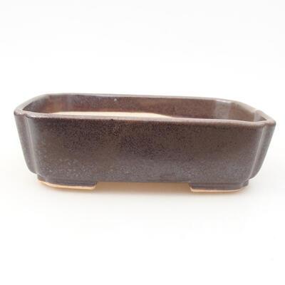 Ceramiczna miska bonsai 15 x 11,5 x 4 cm, kolor brązowy - 1