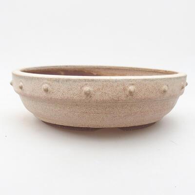 Ceramiczna miska bonsai 19,5 x 19,5 x 5,5 cm, kolor beżowy - 1