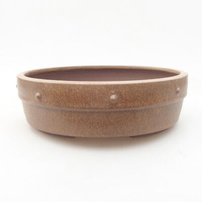 Ceramiczna miska bonsai 18 x 18 x 5,5 cm, kolor brązowy - 1