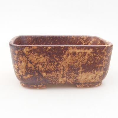 Ceramiczna miska bonsai 13 x 10 x 5,5 cm, kolor brązowo-żółty - 1