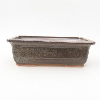 Ceramiczna miska bonsai 16,5 x 11 x 5 cm, kolor brązowo-zielony - 1