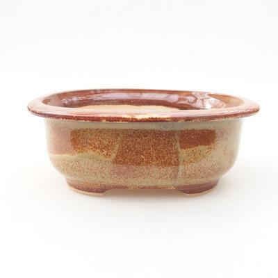 Ceramiczna miska bonsai 14 x 11 x 5 cm, kolor brązowy - 1
