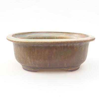 Ceramiczna miska bonsai 14 x 11 x 5 cm, kolor brązowo-zielony - 1