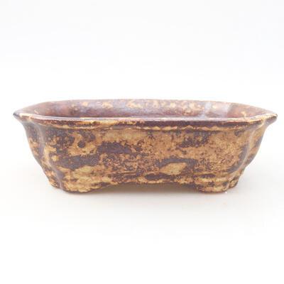 Ceramiczna miska bonsai 15 x 12 x 4 cm, kolor brązowo-żółty - 1